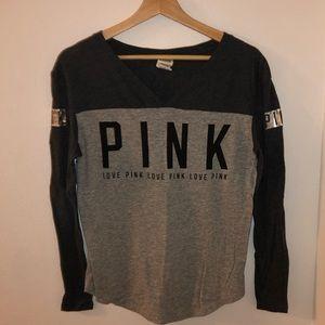 VS PINK Colorblock Gray Logo V-Neck Long Sleeve
